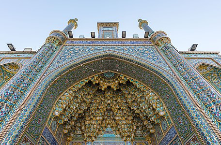 Bottom view of the iwan of the main entrance of Fatima Masumeh Shrine, Qom, Iran.