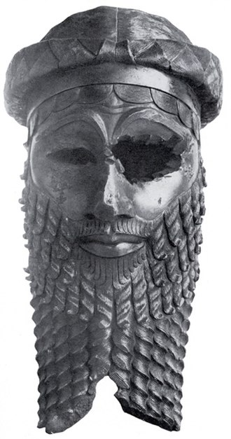 Akkadian Empire - Bronze head of an Akkadian, probably an image of Manishtusu or Naram-Sin; descendants of Sargon (National Museum of Iraq).