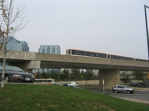 Line 3 Scarborough - The train on its elevated tracks between Scarborough Centre and McCowan