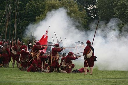 June 14: Battle of Naseby (re-enactment). Scene from recreation of Battle of Naseby.jpg