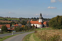 Country road to Schöllkrippen, with the church St Katharina