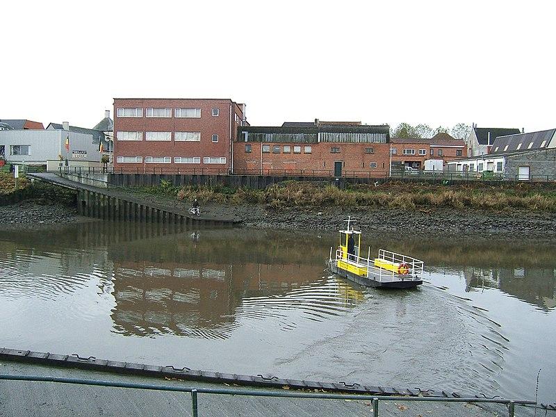 Ferry over River Scheldt at Schellebelle, Belgium