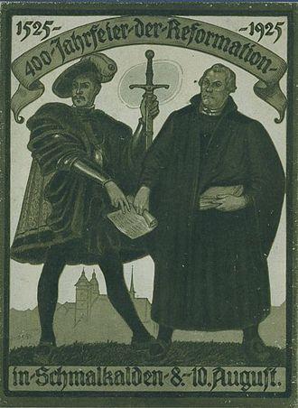 Schmalkaldic League - Postcard from 1925 celebrating the 400th anniversary of the Schmalkaldic League