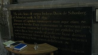 Frederick Schomberg, 1st Duke of Schomberg - Latin inscription inside St. Patrick's Cathedral, Dublin, Ireland, dedicated to the memory of the Duke of Schomberg. Written by Jonathan Swift, Dean of St. Patrick's Cathedral.
