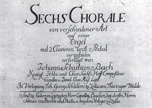 Schübler Chorales - Title page of the 1740s first edition of the Schübler Chorales