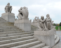 Sculptures near monolith in Vigeland Installation in Frogner Park in Oslo Norway.png