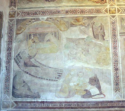 Scuola di Bartolo di Fredi, scene Mariane, 1389, Natività