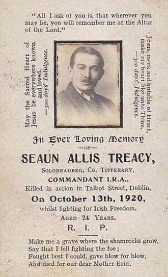 Seán Treacy - Sean Treacy mass card
