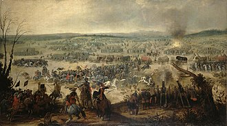 Battle of Wimpfen - Battle of Wimpfen, painting by S. Vrancx showing the magazine explosion