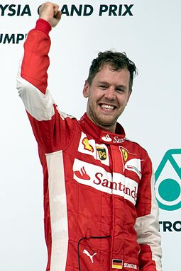 In Malaysia, Sebastian Vettel secured Ferrari's first victory since the 2013 Spanish Grand Prix and his first victory since the 2013 Brazilian Grand Prix. Sebastian Vettel 2015 Malaysia podium 1.jpg