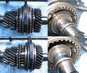 "Manual transmission - Dog clutches. The gear-like teeth (""dogs"", right-side images) engage and disengage with each other."