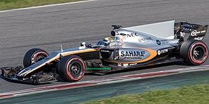 Force India VJM10 - Sergio Pérez during pre-season testing, sporting the pre-season livery