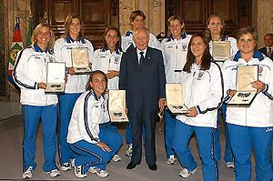 Italy women's national water polo team - Tania Di Mario (3rd standing from left) and Setterosa, with Italian President Carlo Azeglio Ciampi after Olympic gold medal at Quirinale in 2004.