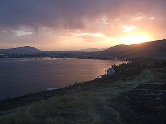Sevan, Armenia - Sunset over the town