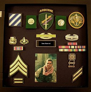 Shadow box - A shadow box for a US soldier who served during the Iraq War