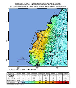 2016 Ecuador earthquake - USGS shakemap for the event