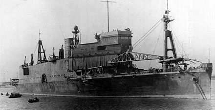 IJA amphibious assault ship Shinshu Maru, the world's first landing craft carrier ship to be designed as such. Shinshu Maru1937.jpg