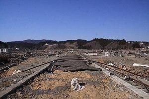 Kesennuma Line - Remains of Kesennuma Line near Shizugawa Station following 2011 tsunami