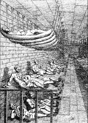A drawing of a large room, with hammocks on both sides attached to ceiling bolts and underneath them wooden platforms. Men are lying on both, as well as underneath the platforms on the bare floor.