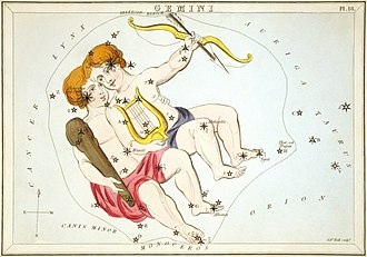 Gemini (constellation) - Gemini as depicted in Urania's Mirror, a set of constellation cards published in London c.1825.