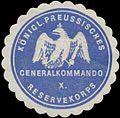 Siegelmarke K.Pr. Generalkommando X. Reservekorps W0363095.jpg