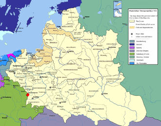 Duchy of Siewierz - Subdivisions of the Polish–Lithuanian Commonwealth in 1635, Duchy of Siewierz marked with red