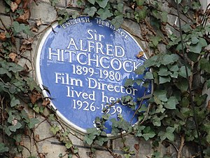 An English Heritage blue plaque marks where Hitchcock lived at 153 Cromwell Road, Kensington, London. Sir Alfred Hitchcock (4313226125).jpg