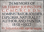 Sir Harry Johnston memorial plaque
