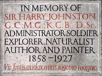 Harry Johnston - Wall plaque erected to the memory of Sir Harry Johnston in the church of St Nicholas, Poling, West Sussex. Designed and cut by Eric Gill