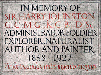 English: Wall plaque erected in memory of Sir ...