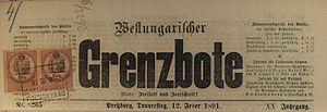 Germans in Czechoslovakia (1918–1938) - Westungarischer Grenzbote, 1891
