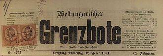 Carpathian Germans - Westungarischer Grenzbote, 1891