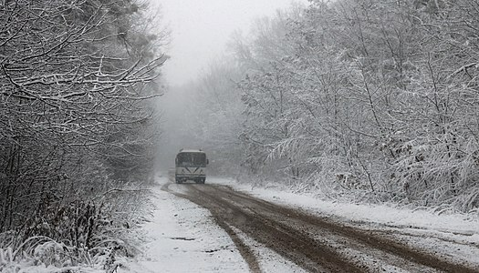 The snow-covered road from Sosonka village to the highway M21 Vinnytsia–Kyiv