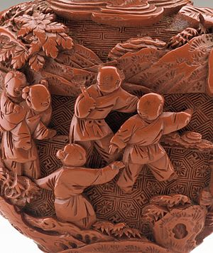 Diapering - Detail of Chinese carved lacquer snuff bottle with Children at Play, and three types of diaper backgrounds, representing ground, water and sky. 18th century