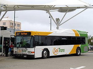 SolTrans route 5 bus at Vallejo Transit Center, May 2019.JPG