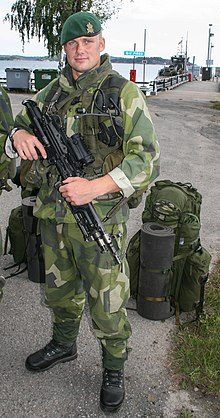 a5c49fe69bee6 Swedish amphibious corps soldier with green beret