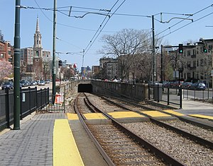 "Green Line ""C"" Branch - The St. Marys Street Portal connects the C branch to the Boylston Street Subway"