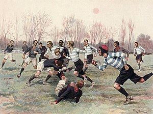 Racing 92 - Racing Club playing Stade Francais in a calendar illustration of 1906.
