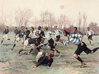 Stade Français - An illustration showing Stade Français (in dark blue jersey) playing Racing Club, 1906.