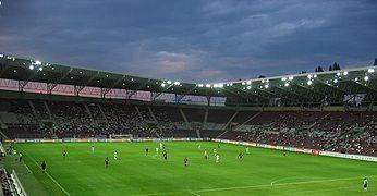 Un match de football vu depuis les tribunes