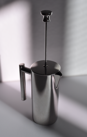 French press - A French press made of stainless steel