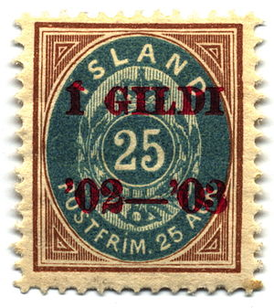 "Postage stamps and postal history of Iceland - 25 aurar ""Í Gildi"", 1902"