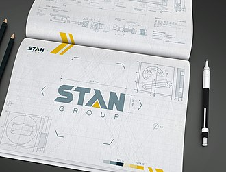 Corporate identity - Corporate Brand Attributes example — Brand Signature: Brand Mark (trademark), Brand Logotype, Brandline (or Brand Slogan) and Supergraphic.