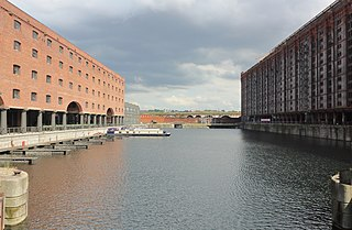 Dock on the River Mersey in Liverpool, England
