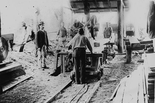 StateLibQld 1 123198 Men working in Rossler's Sawmill at Nerang, ca. 1896