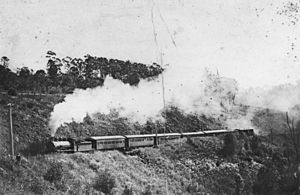 Main Line railway, Queensland - Train climbing the Main Line near Harlaxton, 1914