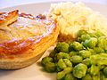 Steak pie with mash and peas 11012012.JPG
