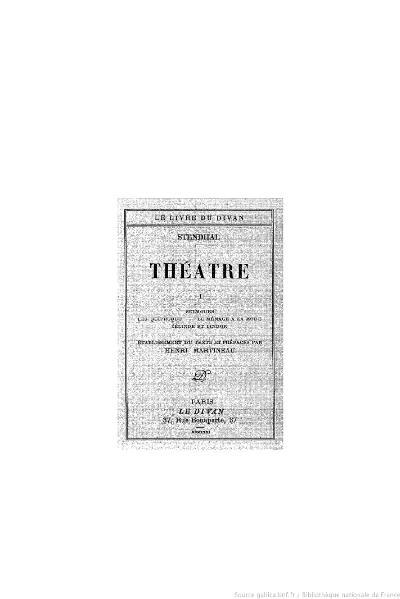 File:Stendhal - Théâtre, I, 1931, éd. Martineau.djvu