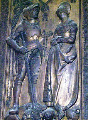 Magdalena of Brandenburg, Countess of Hohenzollern - Grave stone of Magdalena and her husband in the collegiate church of St. James in Hechingen