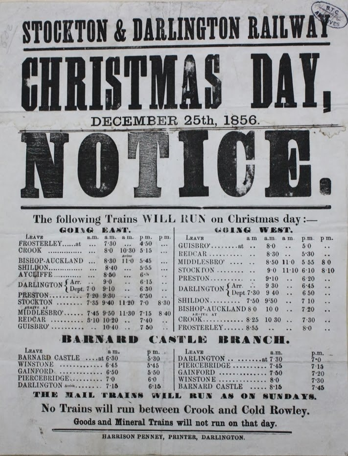 Stockton & Darlington Railway - Christmas Day 1856 timetable